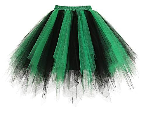 Homrain Mujer Faldas Tul Enaguas Tutu Enagua Underskirt para Rockabilly Vestidos Black-Green XL