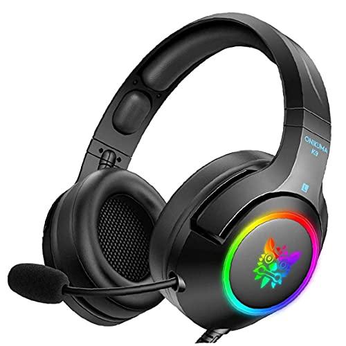 Tuimiyisou Auricular para Juegos PC Gaming Headset con micrófono de cancelación de Ruido estéreo LED de botón del Auricular Negro