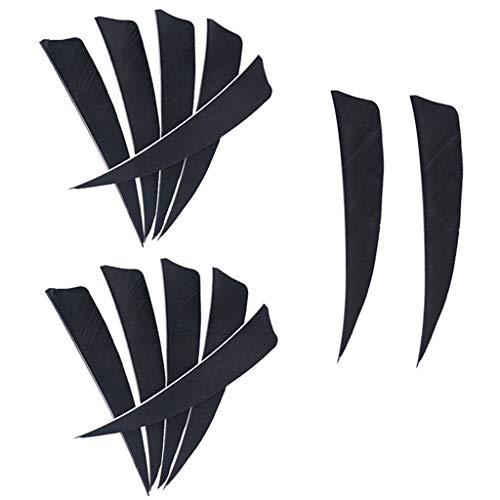 perfk 12 x Bogenschießen Pfeilfedern 3 Zoll Feder für Pfeil - Schwarz