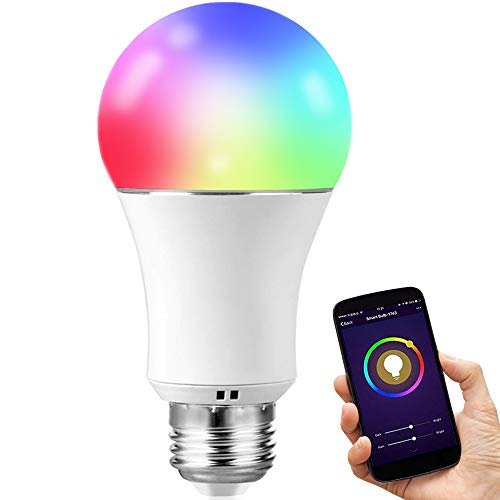 Bombilla LED Inteligente WiFi Focos Inteligentes de Colores Lámpara Dimmable Luces inteligentes Smart Bulb 6500K 7W RGBW 650LM con Remoto Controlado por Amazon Echo Alexa Google...