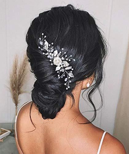 Zoestar Peines para el pelo de la novia de la flor de la novia de la boda del pelo de la perla de plata de la cabeza nupcial