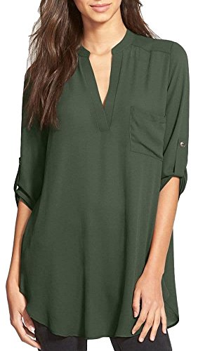 Women's Roll Tab Sleeve Tunic,Perfect Long for Leggings Shirt Cute Versatile Top(Olive,S,001e)