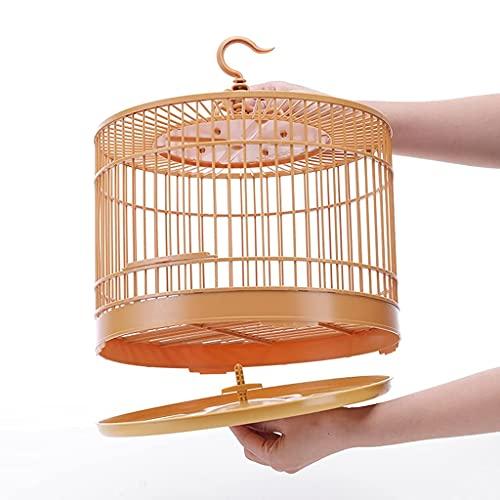 HGJINFANF Gabbia per uccelli rotonda con mangiatoia da appendere, gabbia per uccelli in plastica, adatta per pappagalli, 30 x 33 cm, gabbia per uccelli, portatile