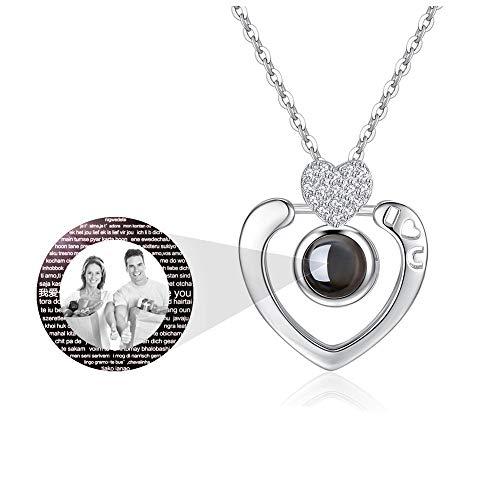 hjsadgasd Frauen 100 Sprachen Ich Liebe Dich Projektion 925 Sterling Silber für Immer Liebhaber Herz Anhänger Halskette