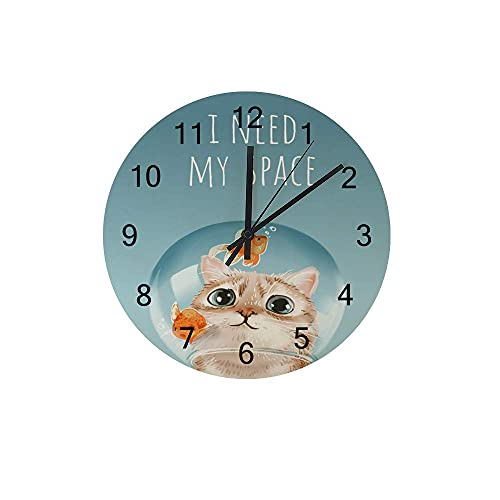 Reloj de Pared de Madera en Silencio, sin Tic, Necesito mi Espacio, Lindo Gato, Cuenco, accionado por baterías, decoración Enamorada de la Oficina de la Oficina de la Oficina de la Oficina.