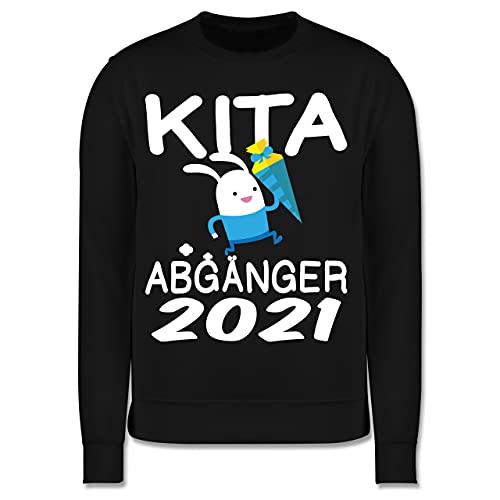 Shirtracer Schulkind Einschulung und Schulanfang - Kita Abgänger 2021 rennender Hase mit Schultüte - 104 (3/4 Jahre) - Schwarz - Hase - JH030K - Kinder Pullover