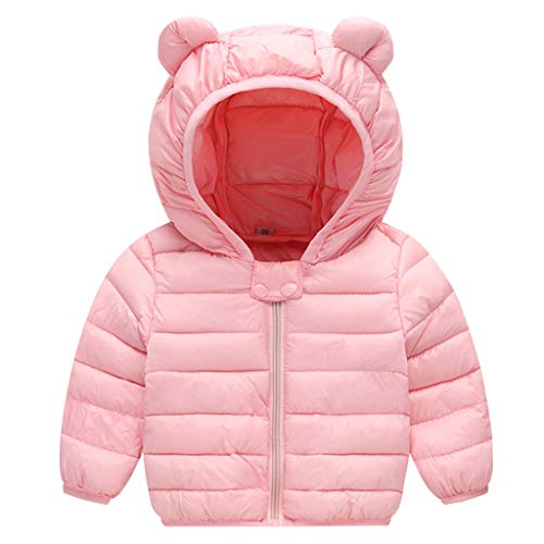 JiAmy Bebé Chaqueta Invierno Abrigo con Capucha Ligero Trajes Ropa de Calle Acolchado Rosa 6-12 Meses