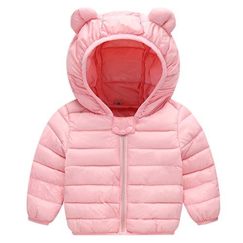 Baby Jacke Winter Mantel Kapuzenjacke Ultraleicht Mäntel mit Kapuze Rosa 6-12 Monate