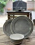 Camping Geschirrset für 4 Personen Grau aus Melamin Picknick Geschirr Campinggeschirr Tafelgeschirr - 6