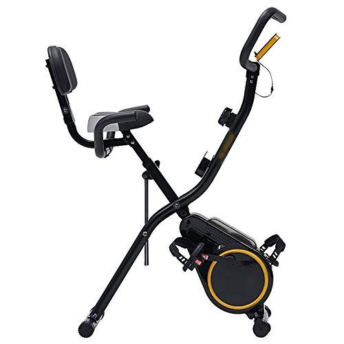 Bicicleta Estática Plegable,Plegables bicicleta estática magnética con Pantalla LED Universal 12 Niveles de Resistencia magnetica, MAX hasta100 kg para atletas y mayores