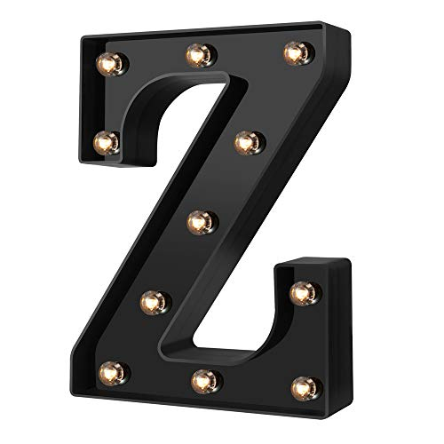 Newly Design Led Letters Numbers Lights 26 Alphabet & Arabic Numerals 0-9 Black Decorative Marquee Lamps for Events Wedding Party Birthday Home Bar(Cool Black Z)