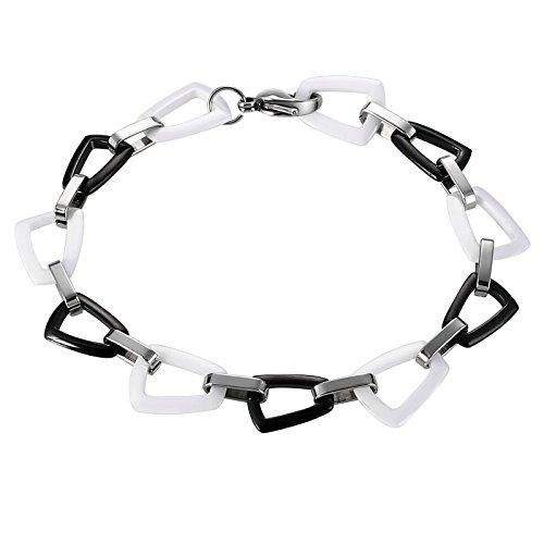 ANAZOZ Armband Herren Edelstahl Trapez Armbänder für Männer Armreif Weiß Schwarz Modeschmuck 22CM