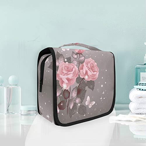 MontoJ Grande trousse de toilette à suspendre Motif roses et papillons