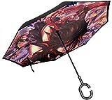 Töten Sie La Kill Anime Print Auto Reverse Umbrella, Doppel-Taschenschirm, mit C-förmigen Griff UV-Schutz invertiert Taschenschirme Geschenk