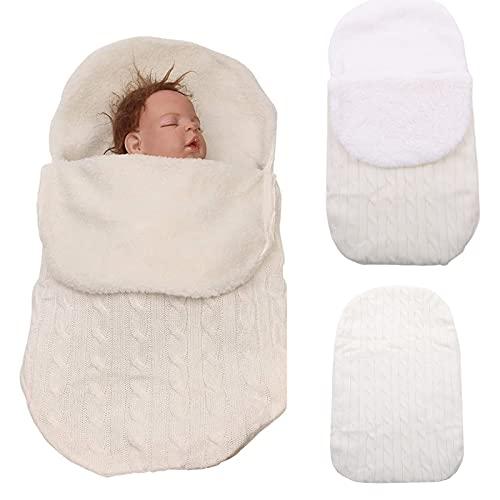 Saco de dormir para recién nacidos, ligero, suave, grueso, unisex, para el invierno, para recibir el bebé, para niños de 0 a 12 meses, color blanco