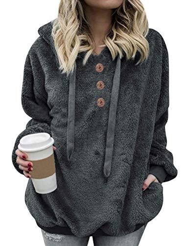 Dresswel Damen Teddy Fleece Hoodie Mantel Herbst Winter Jacke Kapuzenpullover Pullover Langarmshirt Sweatshirt Mit Kapuze (Grey, M)