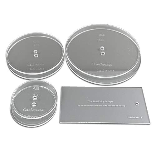 """CAKESAFE Bare Necessities Cake Decorating Acrylic Disk Kit – 3-Sets -Round 4.25"""", 6.25"""" and 8.25"""" Disk Sets (2 disks per size) and an 8"""" Icing Scraper for Creating Perfect Cakes"""