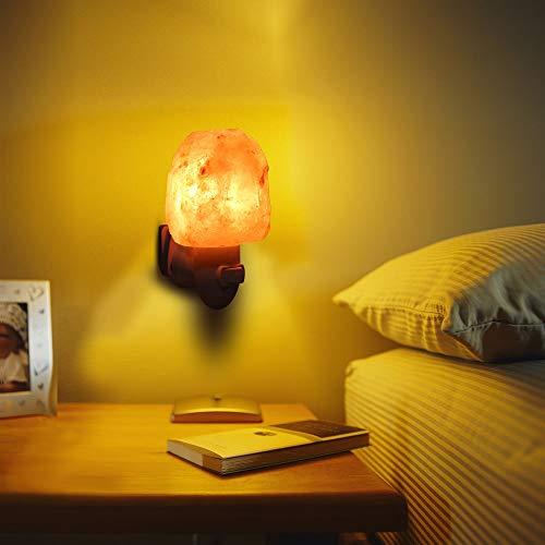 Veilleuse Led Lampe de Sel Cristal Naturel Sculpté Veilleuse pour Eclairage Décoration et Purification de l'air