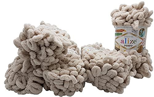 Alize Puffy 5 ovillos de 100 gramos de lana para tejer dedos, 500 gramos de lana súper voluminosa, lana para tejer sin aguja (natural 599)