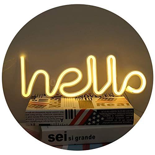 LED Hola, Forma de neón Signo de palabra Letras de neón Luces decorativas de arte Decoración de la pared para la habitación del bebé Suministros de fiesta de bodas de Navidad (Blanco cálido)