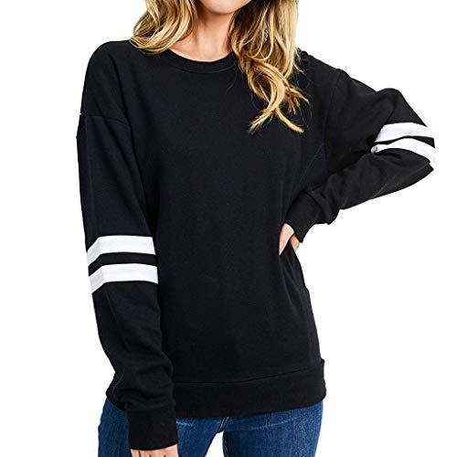 LILIHOT Damen Sweatshirt mit Rundhalsausschnitt Casual Streifen Pullover Sweatershirt Basic Sport Langarm Shirt Klassisch Sweatshirt Oberteil