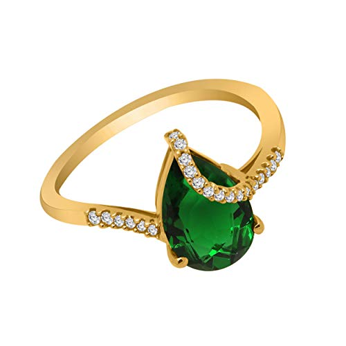 OMEGA JEWELLERY 10K Gold Pear Shape Simulated Gemstone & 1/10 Ct Real Diamond Solitaire Bypass Ring (yellow-gold, emerald & real diamond)