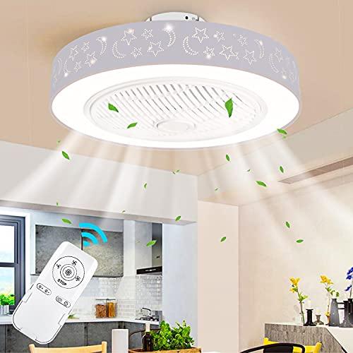 LEDMO Ventilador de Techo LED de 45W con iluminación Ventilador invisible Moderno Ventilador de Techo Ultra Silencioso con Remoto Control Dormitorio Sala de Estar Ventilador de Techo LED regulable
