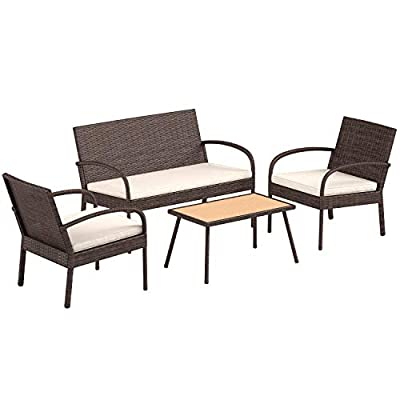 AmazonBasics 4 Piece Patio PE Rattan Wicker Sofa Chair and Table Set