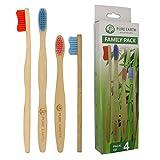 Pure Earth Essentials Lot de brosses à dents en bambou naturel biodégradables écologiques avec poils doux pour soins dentaires et gencives sensibles (2 adultes et 2 enfants)