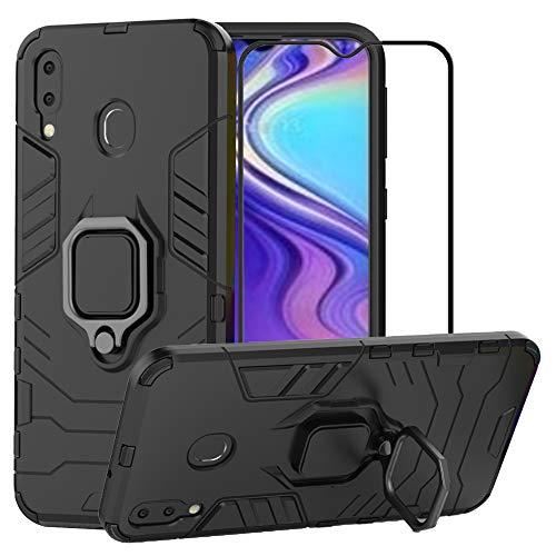 YundEU Hülle für Samsung Galaxy M20 mit schutzfolie, Hybrid Rüstung Defender Ganzkörperschutz Heavy Duty Hard Bumper Silikon Handyhülle stossfest Schutzhülle Hülle Tasche mit Kickstand, Schwarz