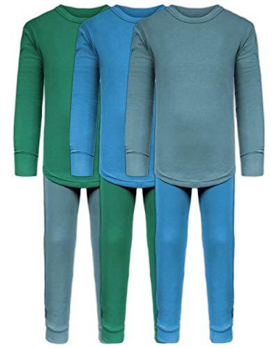 Boys Long John Ultra-Soft Cotton Stretch Base Layer Underwear Sets / 3 Long Sleeve Tops + 3 Long Pants - 6 Piece Mix & Match (3 Sets / 6 Pc - Evergreen/Blue/Arctic, 7)