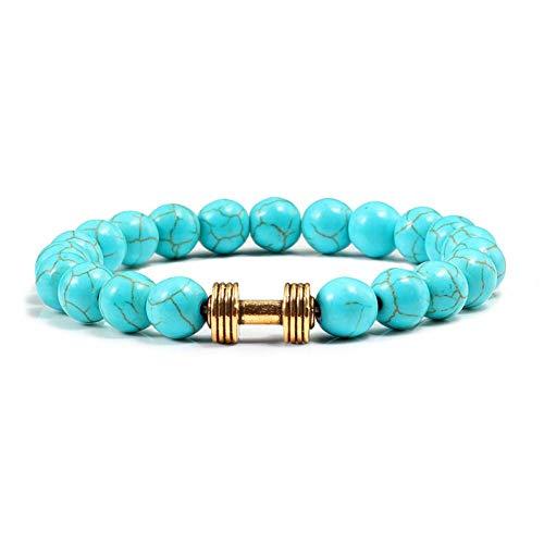 KYHMSL Naturstein Perlen Armbänder Armreifen Mode Männer Fitness Klassische Hantel Armband Für Frauen Charme Schmuck Zubehör