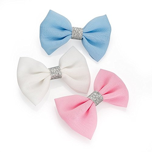 Set of 3 White Pink and Blue Glitter Centre Bow Hair Beak Clips Slides by Pritties Accessories