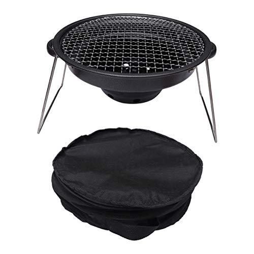 BESPORTBLE Portable Rond Gril à Charbon Barbecue Pliant Rack Barbecue Kits D'outils pour Camping Cuisine en Plein Air Randonnée Pique-Niques Fête Noir