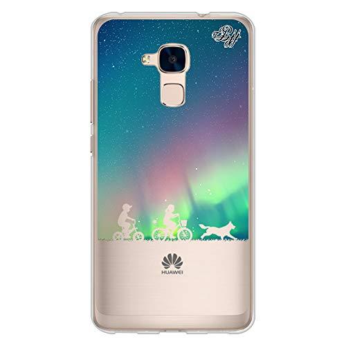 BJJ SHOP Custodia Trasparente Slim per [ Huawei GT3 / Huawei Honor 5C ], Cover in Silicone Flessibile TPU, Design: Bambini dell Aurora boreale con Bicicletta e Cane