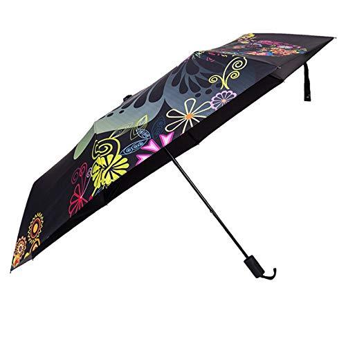 KIKIRon Regenschirm Sonnenschutz Vinyl tri-Falten Sonne Outdoor Zero-Lichtdurchlässigkeit Regenschirm Kompakter Regenschirm (Farbe, Size : One Size)