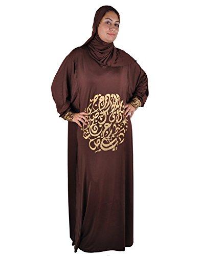 Egypt Bazar Isdal Abaya Gebetskleid mit arabischer Kalligrafie in Goldfarbe Islamische Kleidung, Farbe: braun (48-58 (Einheitsgröße: XL bis 3XL))
