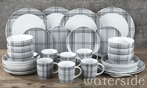 Waterside Fine China Set da tavola, Porcellana, Grigio, Taglia Unica
