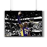 Pentagonwork Kobe Bryant NBA Sports Poster Casts Signed Reprint 11x17 A3 Prints w/Stickers, Los Angeles Lakers Autographed, Gifts Wall Art Decor Decoration 900-006