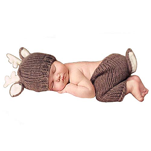 Besutana Newborn Baby Photography Props Outfits Lovely Boy Hat Pant Girl, Lovely Deer, 0-6months