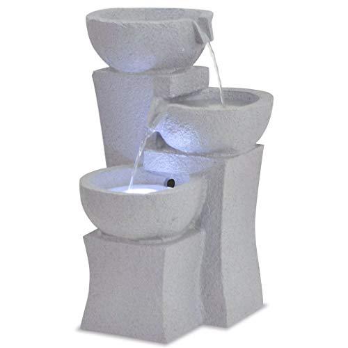 UnfadeMemory Zimmerbrunnen mit LED-Beleuchtung Polyresin Kleine Wasserbrunnen Wohnzimmer Büro Tischbrunnen Dekoration Wasserspiel Brunnen (# Typ 10)