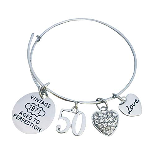 50th Birthday Gifts for Women, 50th Birthday Expandable Charm Bracelet, 1971 Aged to Perfection, Perfect 50th Birthday Gift Ideas for Women