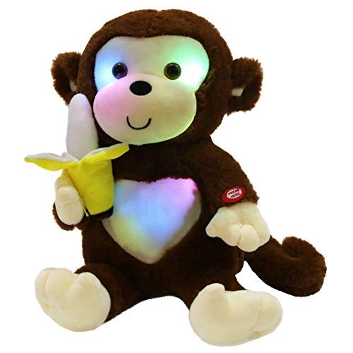 WEWILL Light up Monkey Stuffed Animal Creative Glow Soft Plush Toys with Banana in Hand Nightlight Bedtime Birthday, Brown, 12.5 inch