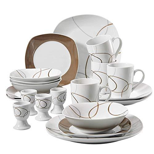 VEWEET Nikita Juegos de Vajillas 20 Piezas de Porcelana con 4 Taza 175 ml, 4 Platillos, 4 Platos, 4 Platos de Postre y 4 Platos Hondos para 4 Personas