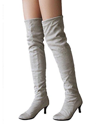 Minetom Damen Winter Overknee Stiefel Wildleder Hoher Absatz Schuhe Lange Stiefel Mode Schenkel Hohe Stiefel Grau EU 41