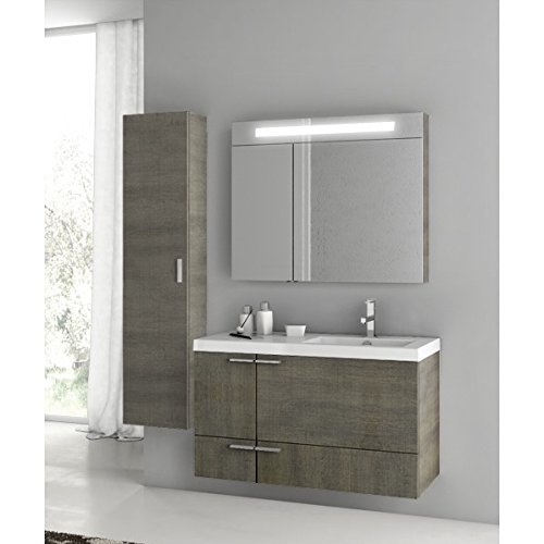 Buy Bargain Nameeks ACF ANS315 ACF Wall Mounted Vanity Set with Wood Cabinet, Ceramic Top with 1 Sin...