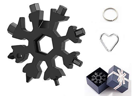 Geschenke für Männer-18-in-1, Schraubendreher Flaschenöffner,Multi-tool für Outdoor,Es kann als Schlüsselring, Flaschenöffner, kleiner Kreuzschlitzschraubendreher,Schraubenschlüssel. (Schwarz+)