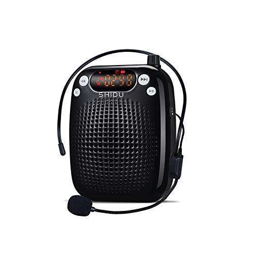 Sprachverstärker, SHIDU Sprachverstärker 10W Wiederaufladbarer tragbarer PA-Systemlautsprecher mit Kabelmikrofon-Headset Unterstützung MP3-Play für Lehrer, Yoga, Reiseleiter, Outdoor-Trainer
