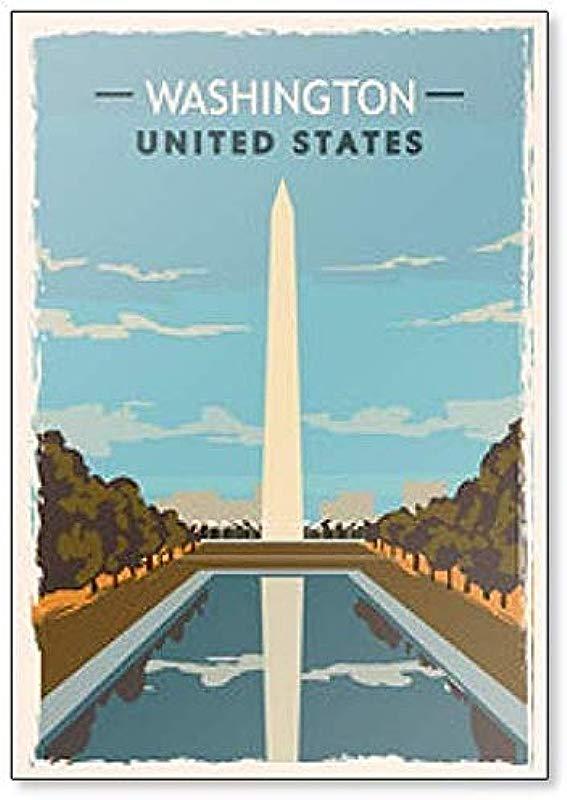 Washington Monument Retro USA Washington Travel Illustration Fridge Magnet