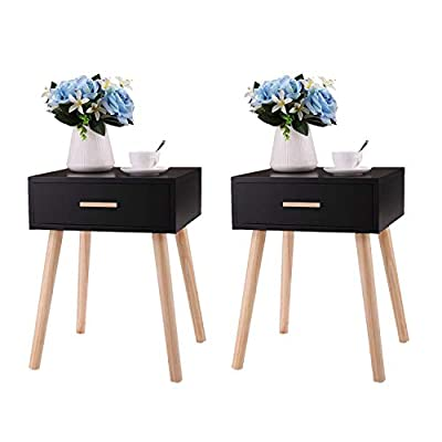 Black Nightstand Set of 2 with Drawer for Bedroom Solid Wood, Mid Century Bedside Table for Living Room, Modern Night Stand with 4 Wooden Legs, 15.7L x 13.8W x 21H